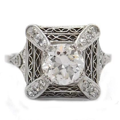 1920's 1.65 Ct Filigree Antique Engagement Ring