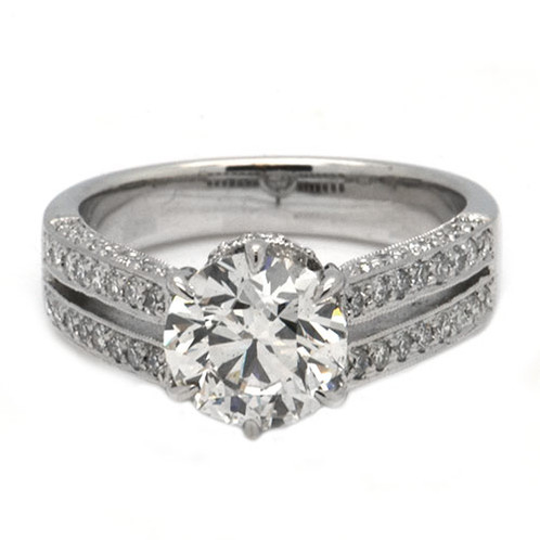 bridal sylvie side diamond bold round peekaboo stones center ring rings engagement