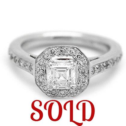 .85 GSI Asscher Diamond Engagement Ring 14KWG