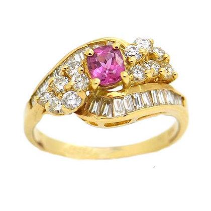 Genuine Oval Pink Sapphire Diamond Ring 1 1/2 Ct