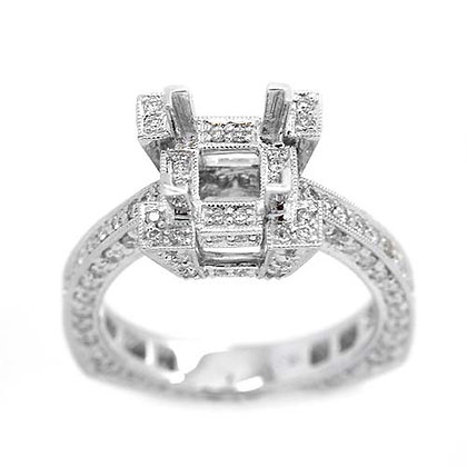 1.55 Ct Vintage Style Crown Diamond Mounting
