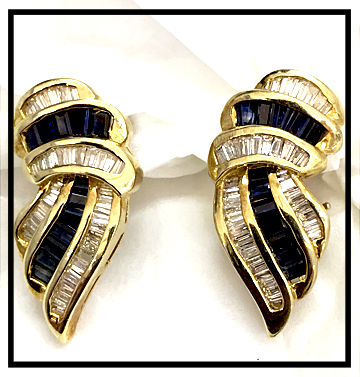 Diamond Sapphire Clip Earrings