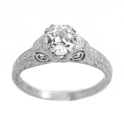 Vintage Platinum Diamond Engagement Ring .80 Ct
