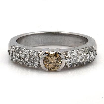 .89ct Natural Cognac Diamond Engagement Ring White