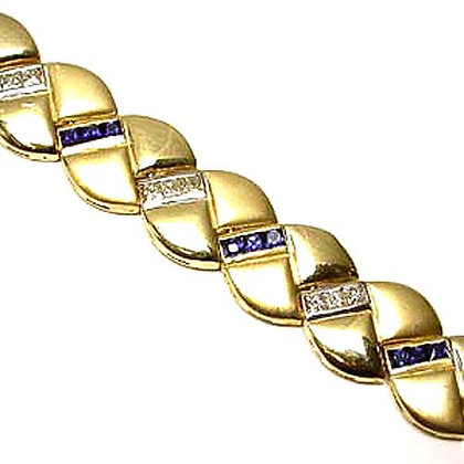 Diamond and Sapphire Yellow Gold Bracelet 3 Ct