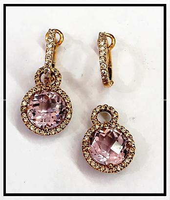 Dangling Pink Crystal/Diamond Earrings 18K Pink Gold