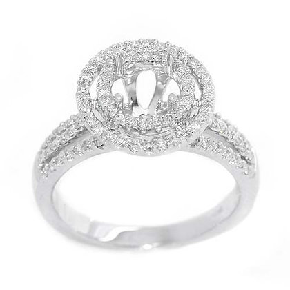 18K Triple Split Shank Diamond Engagement Setting