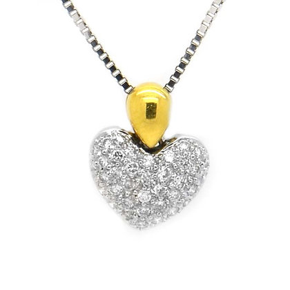 White Gold Heart Pendant Necklace 1/2 Ct