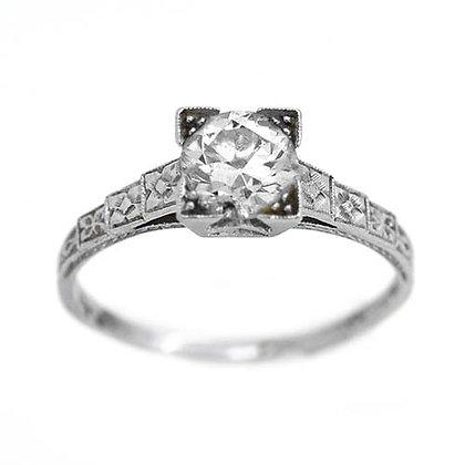 Antique Platinum Diamond Engagement Ring 1 Ct