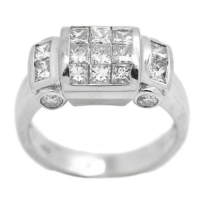 Vibrant Princess Cut Diamond Wedding Band 1.58 Cts