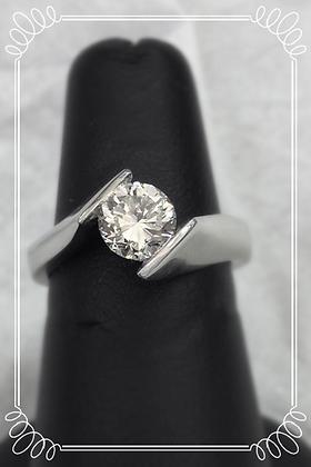 Contemporary Platinum 1 ct Diamond Ring