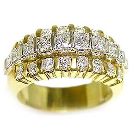 Princess and Round Diamond Wedding Band 1.76 Cts