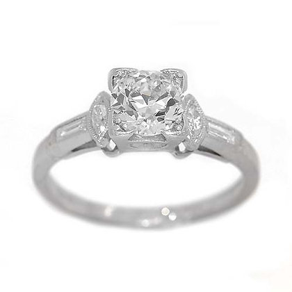 1920's Antique Diamond Engagement Ring 1.10 Cts