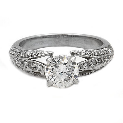 1.32 HSI1 Micro Pave Diamond Engagement Ring