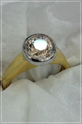 Vintage Old Miner Cut Cushion Diamond Ring