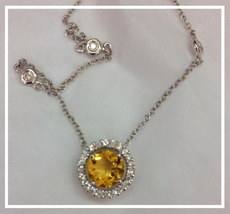 Citrine & Diamond Necklace