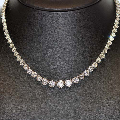 16 Ct Diamond Tennis Necklace 14K White Gold