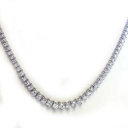 6 Ct FSI Diamond Tennis Necklace 14KWG Three Prong