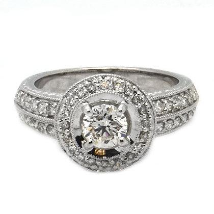 1.46 GSI1 Round Halo Diamond Engagement Ring