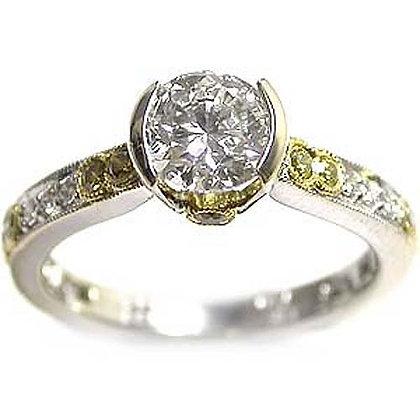 1.44ct Bezel Set Yellow Round Diamond Ring