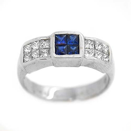 Princess Diamond and Sapphire Wedding Band 1.01 Ct