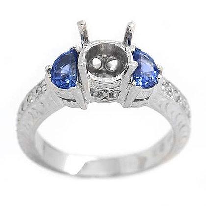 18K Sapphire Diamond Engagement Ring Mounting