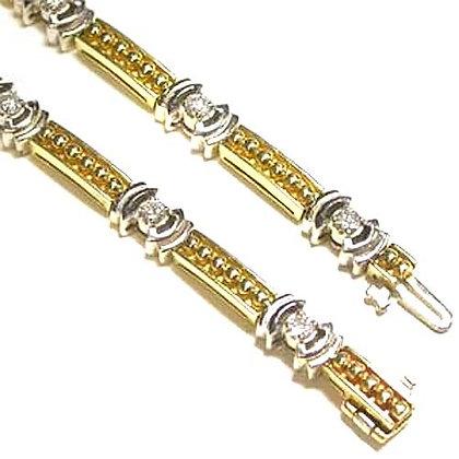 14K Yellow and White Gold Diamond Bracelet .70 Ct