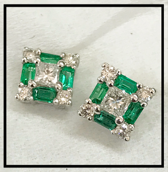 Emerald/Diamond Stud Earrings