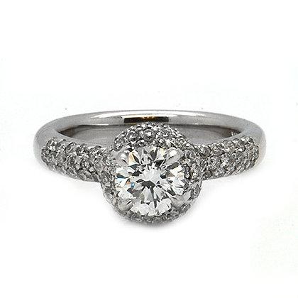 2.12 Ct Vintage Style Diamond Halo Engagement Ring