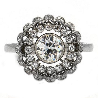 1.15 Ct Antique 1950's Flower Diamond Ring