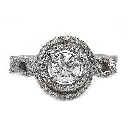 1.22ct DSI Vintage Round Diamond Engagement Ring