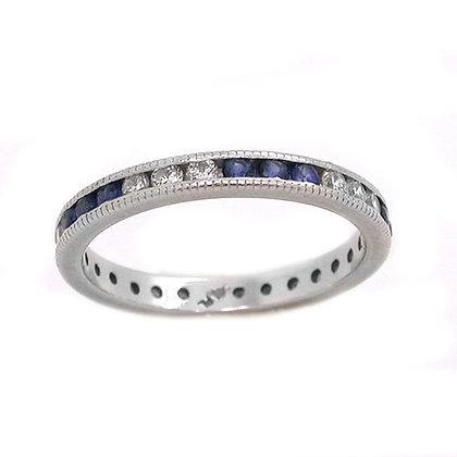Platinum Antique Sapphire and Diamond Wedding Band