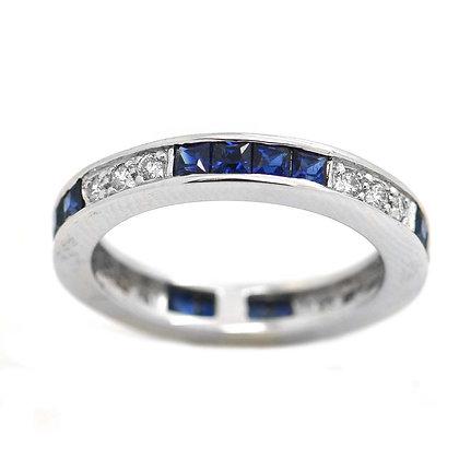 1.60ct Diamond Princess Cut Sapphire Wedding Band