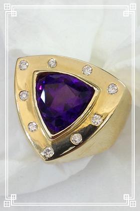 Bold  Amethyst & Diamond Ring