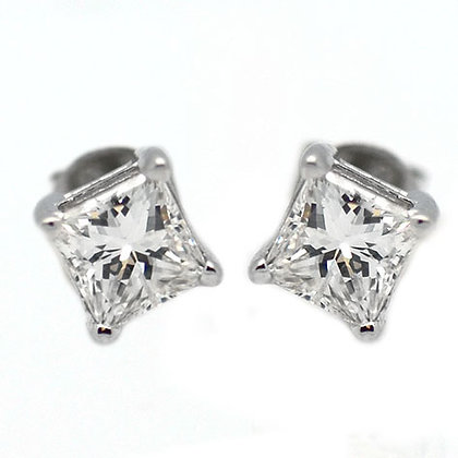 1.51 Ct Princess Cut Diamond Studs Certified FGI1