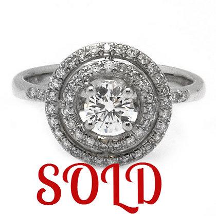1ct DSI Round Cut Vintage Diamond Engagement Ring