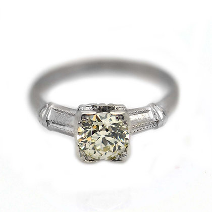1930's Diamond 14K White Gold Antique Ring
