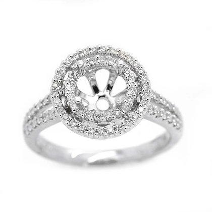 18K Split Shank Diamond Halo Engagement Setting