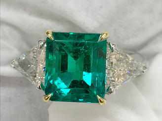 Emerald Diamond 3 Stone Ring