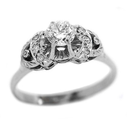 FVS Antique Diamond Engagement Ring 18KWG 1/2 Ct