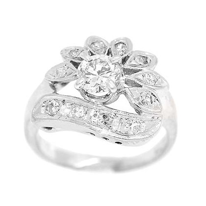 1950's Antique Flower Engagement Ring 1/2 Ct