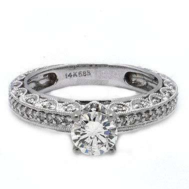 1.29ct FSI Antique Vintage Diamond Engagement Ring