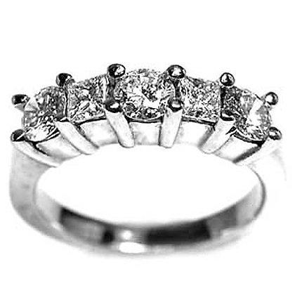 1.18ct 5 Stone Diamond Wedding Band