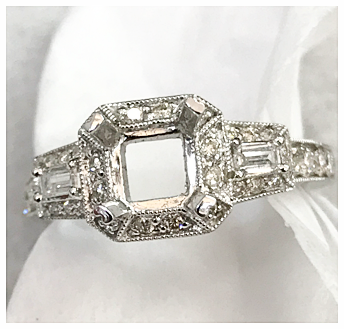 1/2+ Ct Round and Baguette Diamond Mounting
