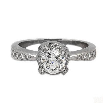 1.28 Antique Vintage Round Diamond Engagement Ring