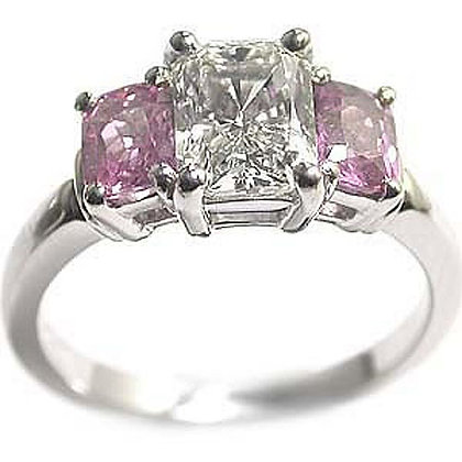 1.51 Pink Sapphire Radiant Cut Engagement Ring