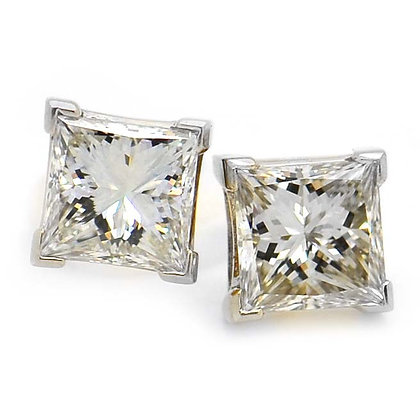 3.10ct VVS Princess Cut Diamond Stud Earrings