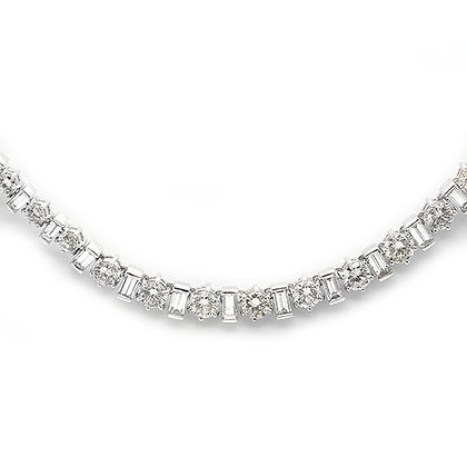 15 Ct Round and Baguette Diamond Tennis Necklace