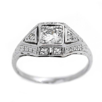 1940's Exquisite Antique Engagement Ring .65 Cts