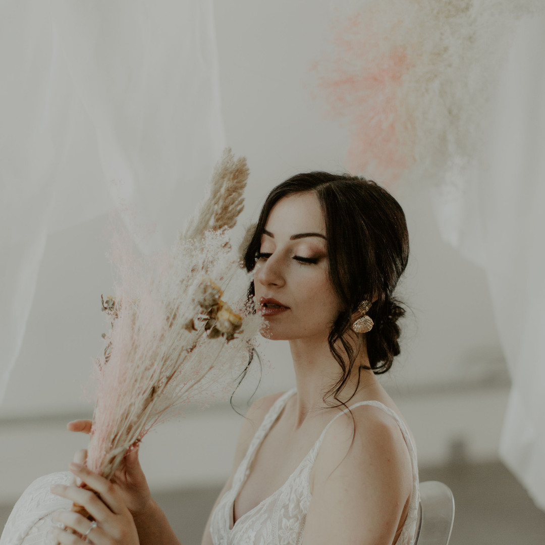 Hair and makeup by Carly Martin of Glam In Van, photo by White Dahlia Studios